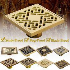 Multi-pattern 4 inch Antique Brass Square Shower Waste Water Hollow Floor Drain
