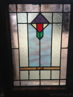 """Antique Chicago Stain Stained Leaded Glass Window 24"""" x 18"""""""