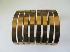 CHUCKY LARGE & WIDE GOLD PLATED w/PIERCED LINES DESIGNED CUFF BANGLE BRACELET