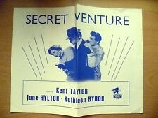 Republic Picture Programme- Kent Taylor,Jane Hylton & K Byron in SECRET VENTURE