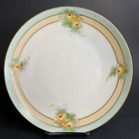 "Antique Meito China Japan China Hand Painted Plate 7.5"" Yellow Roses 1908 Mark"