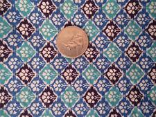 Vintage Feedsack Fabric Material Quilting OLD Blue Black Green Geometric Pattern