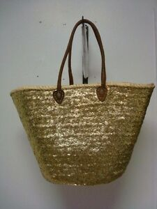 French Market Basket Sparkling Sequin Leather Straw Tote Bag Fashion Moroccan