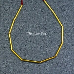 18k Solid Yellow Gold Smooth Tube Beads Findings (10 PIECES) 4.35 INCH
