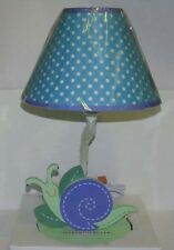 SUMERSAULT SUMMER FRIENDS BLUE GREEN SMILING SNAIL LAMP BASE & FABRIC SHADE NEW
