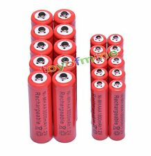 10 AA +10 AAA 1.2V 1800mAh 3000mAh NiMH Red Rechargeable Battery Cell