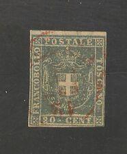 Tuscany #20b FVF USED - 1860 20c Coat Of Arms - SCV $275.00