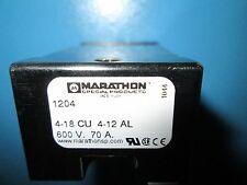Marathon 1204 Terminal Block 4 Pos, 4-18cu, 4-12 al  600V, 70A