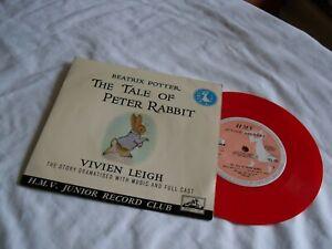 "BEATRIX POTTER ""THE TALE OF PETER RABBIT"" 1960 RED VINYL. 7"" 45 RPM RECORD."
