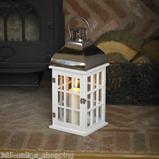 Neu Große 50cm Weiß Holz Hurricane Kerze Laterne Glas & Holz Kerzenhalter