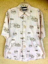 Nautica Hawaiian Shirt Key Largo Airways  First Sixty Years  Tan Cotton    L