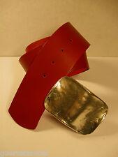 GÜRTELZAUBER 6 cm Damen Ledergürtel LEATHER BELT Rot + Schlamm BW 90 + 105 cm