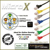 FLAT Ethernet CAT 7 LAN Network Cable Patch Lead RJ45 U/FTP PIMF 0.25m - 30m lot