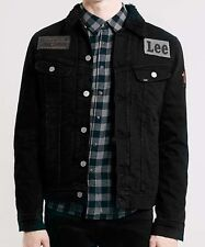 LEE X ORJAN ANDERSSON ( CHEAP MONDAY ) PATCHED SHERPA BLACK DENIM JACKET L RARE
