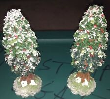 "Department 56 Village Holly Tree 7"" Lot Of 2 Scenery Winter Holiday Accessories"
