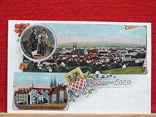 Farblitho - Gruss aus Eger / Cheb - gel. 1916 - Egerländer Tracht - sehr schön !