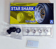 "Aoshima 1/24 Star Shark 14"" Wheel Rims & Tire Set For Plastic Models 5258 (19)"