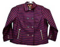 Isaac Mizrahi Live Women's 20W Double Breasted Striped Jacket w/ Shoulder Pads