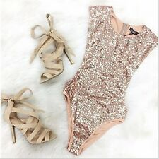Donna profondo paillettes body bikini PEZZI TRIANGOLO COSTUME INTERO
