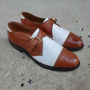 Allen Edmonds HILLSBORO White/ Brown Cap-Toe Single Monks Shoes sz 8.5 B MENS US