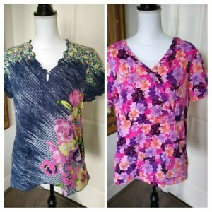 Lot of 2 KOI by Kathy Peterson Pink Purple Blue Floral Medical Scrub Tops SZ L