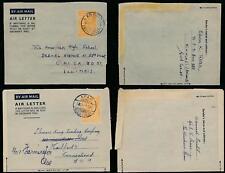 GOLD COAST KG6 AEROGRAMMES 6d APAM + AGOGO to USA HARTFORD + CHICAGO 1950-53