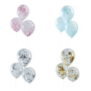 Rose Gold, Gold, Silver, Pink, Blue, Black or White Confetti Party Balloons