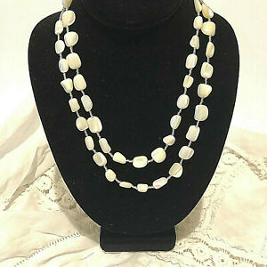 "Mother of Pearl Bead Praha Czech Made Necklace Approx 43"" Long"