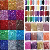 5/10/20g Holographic Nail Glitter Powder Silver Black Manicure Pigment Dust Tips