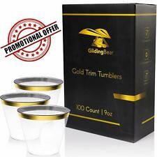 GlidingBear Gold Rim Clear Plastic Elegant Disposable Party Cups 9 oz 100 pack