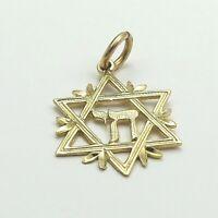 14K Gold Chai Within Jewish Star Of David Charm Pendant 1.1gr