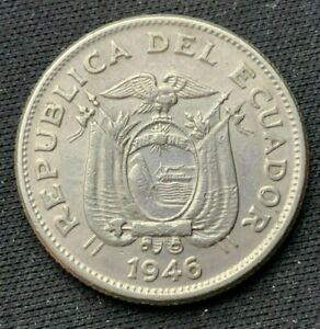 1946 Ecuador Un Sucre Coin XF     World coin Nickel       #K1601