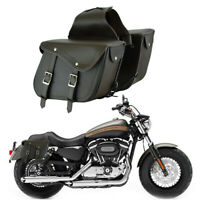 2 Bags Motorcycle Saddlebags Motorbike Saddle Bag Leather Pouch Saddle Panniers