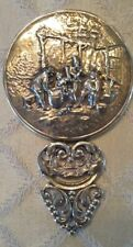 Vintage Ornate Denmark Signed Silver Plate Hand Mirror Danish Repousse
