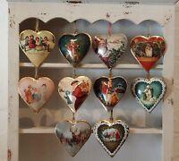 Vintage Chic Christmas Metal Heart Decoration Santa Father Retro Traditional