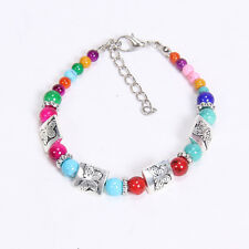 NEW  fashion Colorf butterfly Tibetan silver beaded bracelet gift of love S27