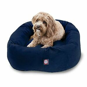 "Majestic Pet 32"" Navy Velvet Bagel Dog Bed"