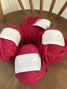 Sublime baby Wool cashmere merino silk dk 4x50g balls Pink  0526