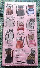 Coolest Ever Kitty Cat Napkins Guest Towels NIP FREE SHIPPING