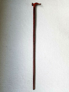 Handmade Red Wood Carved Ornate Cane Walking Stick Brown Decor, 37.5 inches