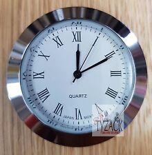 Quartz Roman Numerals 50mm Clock Insert Silver Plated Japan Movt TY-CK050-SR