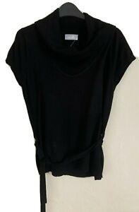 Wallis Size 14 Black Short Sleeve Jumper with Belt -(B184)