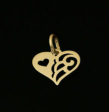 9ct 375 Yellow Gold Love Heart Pendant Charm