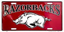 Arkansas Razorbacks Red Embossed Metal License Plate Auto Tag Sign