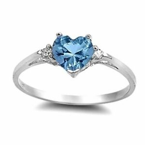 USA Seller Heart Ring Sterling Silver 925 Best Deal Jewelry Aquamarine Size 10