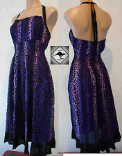 Ladies Purple & Black Leopard Halter Neck Dress.Rockabilly Beach, Pagan, SALE