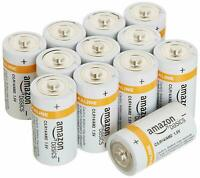 12ct AmazonBasics C Cell 1.5 Volt Alkaline Batteries Bulk No Packaging
