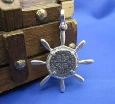 New Sterling Silver Captain Ship Wheel Pirate Treasure Cob Replica Coin Pendant