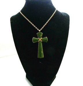 Green on Gold Religious Cross Necklace by Avon