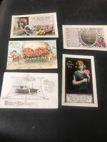 Postcard Greetings Birthday Embossed ,ships Ladies Lot Of 5 G01